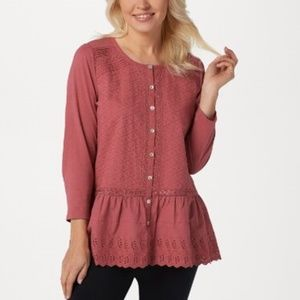 LOGO Lavish by Lori Goldstein Button-Front Top